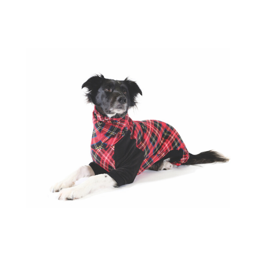 Gold Paw Series Stretch Fleece Onesie Dog Clothing — Tartan Plaid Black