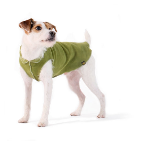 Gold Paw Series Stretch Fleece Pullover Dog Clothing — Moss Green