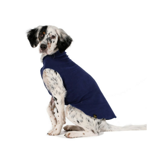 Gold Paw Series Stretch Fleece Pullover Dog Clothing — Navy