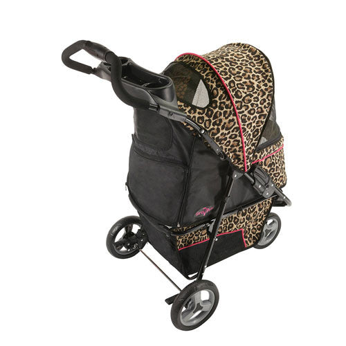Gen7Pets Promenade Pet Dog 3-Wheel Stroller Cheetah Back View
