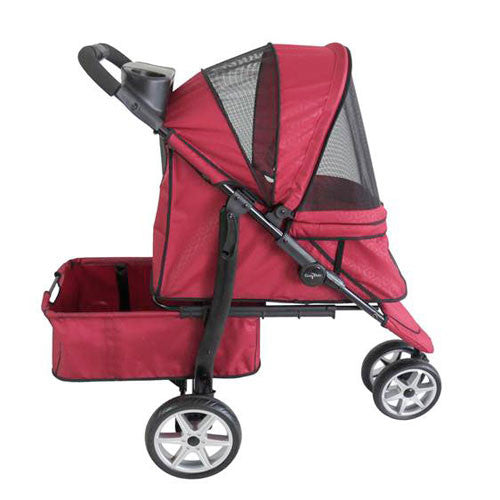 Gen7Pets Platinum Smart Monaco Pet Dog Stroller Red Geometric Side View
