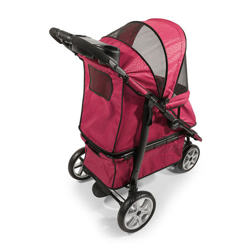 Gen7Pets Platinum Smart Monaco Pet Dog Stroller Red Geometric