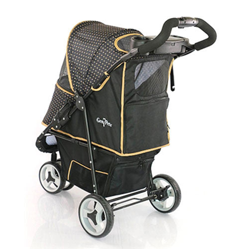 Gen7Pets Promenade Pet Dog 3-Wheel Stroller Gold Nugget Back View