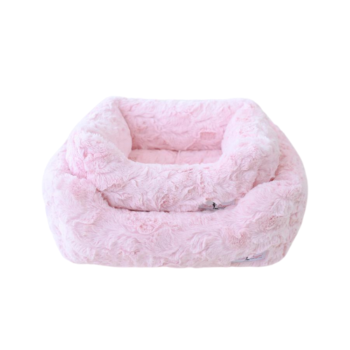 Hello Doggie Bella Plush Nesting Lounge Bed — Baby Pink