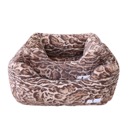Hello Doggie Deluxe Nesting Lounge Bed — Faux Fur Jungle Cat
