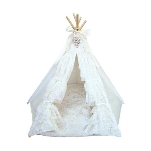 Hello Doggie Lullaby Dog Teepee Bed Opening Tied-Back
