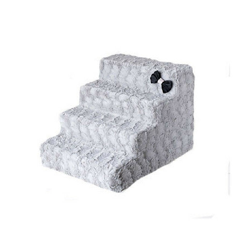 Hello Doggie Luxury Pet Stairs Foam Pet Steps — Dove Grey 4 Step