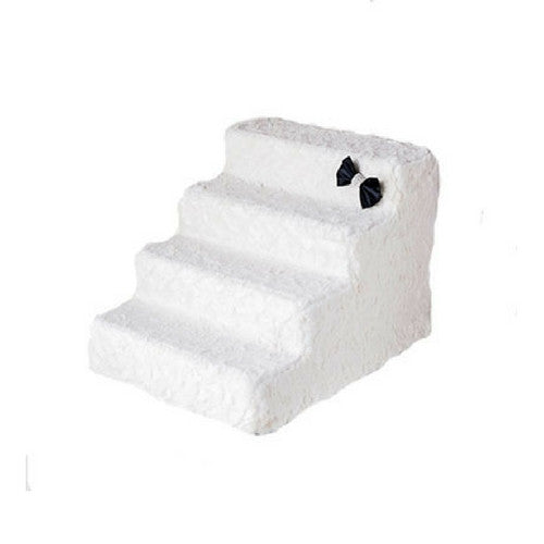 Hello Doggie Luxury Pet Stairs Foam Pet Steps — Classic Ivory 4 Step