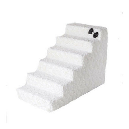 Hello Doggie Luxury Pet Stairs Foam Pet Steps — Classic Ivory 6 Step