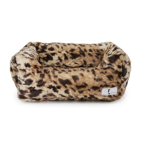 Hello Doggie Luxe Nesting Lounge Bed — Faux Fur King Leopard Large