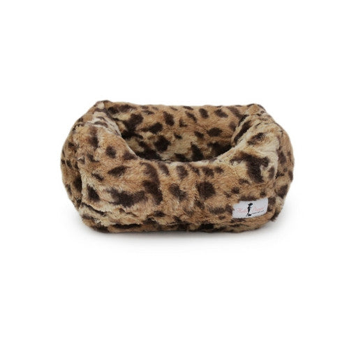 Hello Doggie Luxe Nesting Lounge Bed — Faux Fur King Leopard Small