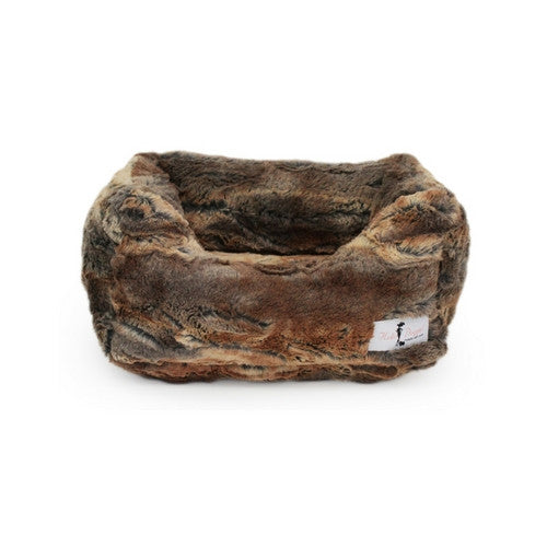 Hello Doggie Luxe Nesting Lounge Bed — Faux Fur Red Fox Small