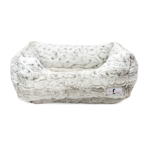 Hello Doggie Luxe Nesting Lounge Bed — Faux Fur Snow Leopard Large