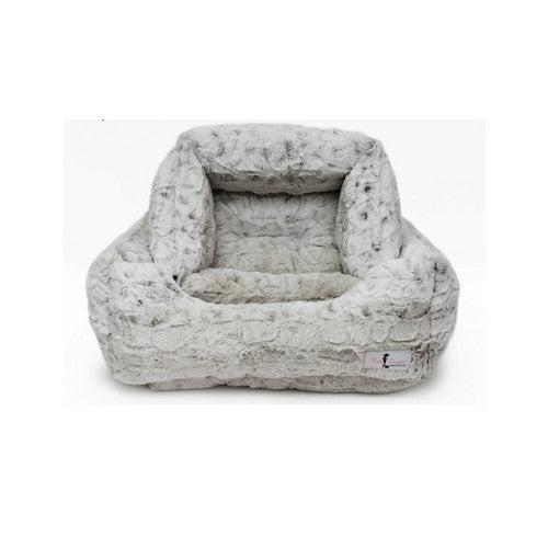 Hello Doggie Luxe Nesting Lounge Bed — Faux Fur Snow Leopard