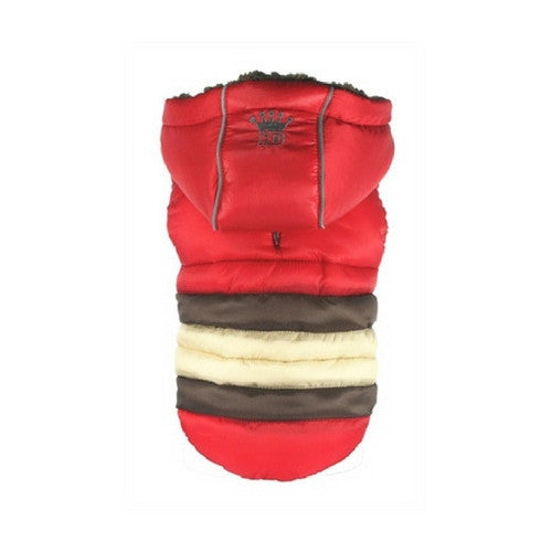 Hip Doggie Super Stripe Puffer Vest Winter Dog Coat Red