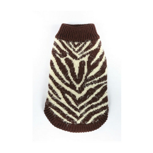 Hip Doggie FeatherLite Brown Cream Zebra Dog Sweater Back View