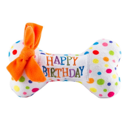 Haute Diggity Dog Pawty All Thge Time Happy Birthday Bone Toy Front View
