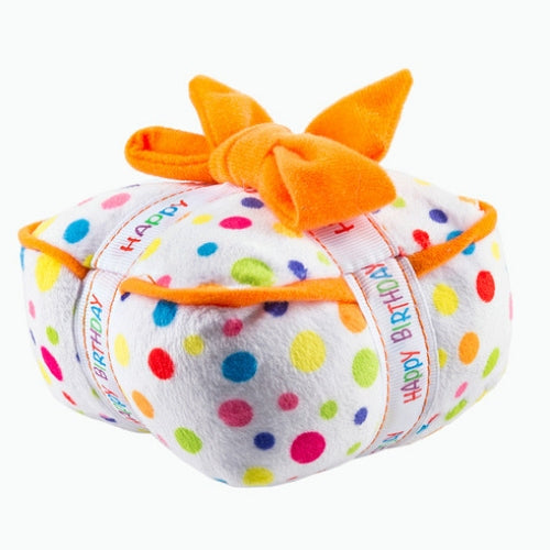 Haute Diggity Dog Happy Birthday Gift Box Plush Squeaker Dog Toy Side View