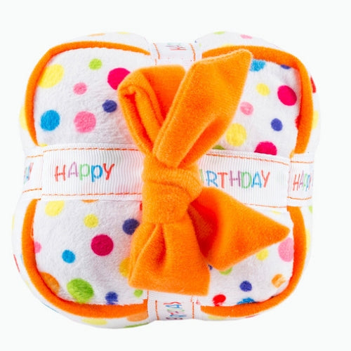 Haute Diggity Dog Happy Birthday Gift Box Plush Squeaker Dog Toy Top View