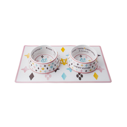 Haute Diggity Dog Chewy Vuiton Dog Bowls and Placemat Dining Set Side View