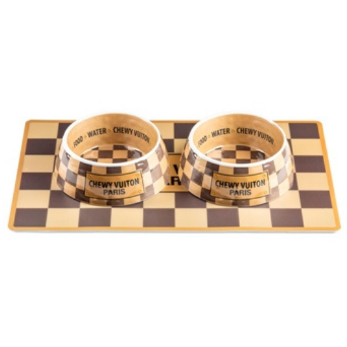 Haute Diggity Dog Checkered Chewy Vuiton Dog Bowls Placemat Dining Set