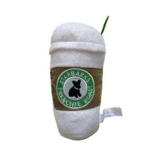 Haute Diggity Dog Frenchie Roast Starbarks with Lid Plush Dog Toy Front View