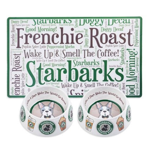 Haute Diggity Dog Starbarks Dog Bowls and Placemat Dining Set