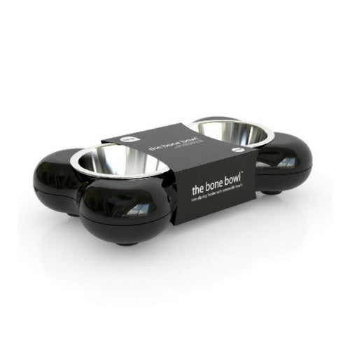 Hing Designs Modern Dog Bone Double Bowl Feeding Station Small Black