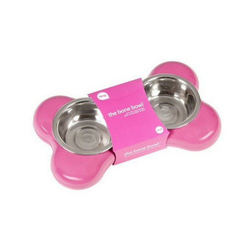 Hing Designs Modern Dog Bone Double Bowl Feeding Station Small Pink