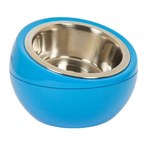 Hing Modern Dome Bowl Elevated Beveled Dog Feeder Blue