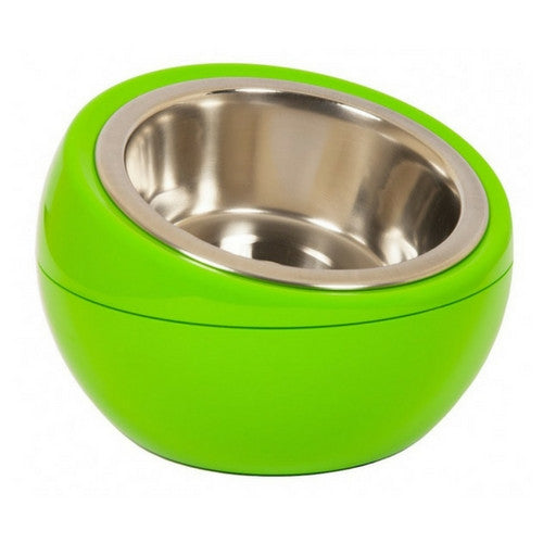 Hing Modern Dome Bowl Elevated Beveled Dog Feeder Green