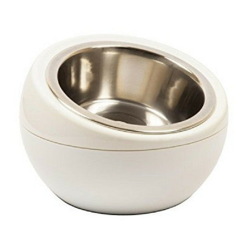 Hing Modern Dome Bowl Elevated Beveled Dog Feeder White