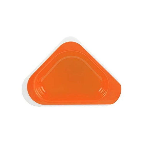 Hing Designs Modern Triangle Corner Elevated Dog Bowl Orange Top View