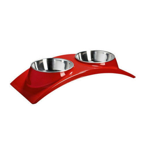 Hunter International Melamine Table Elegance Feeding Bar Elevated Dog Bowl Red