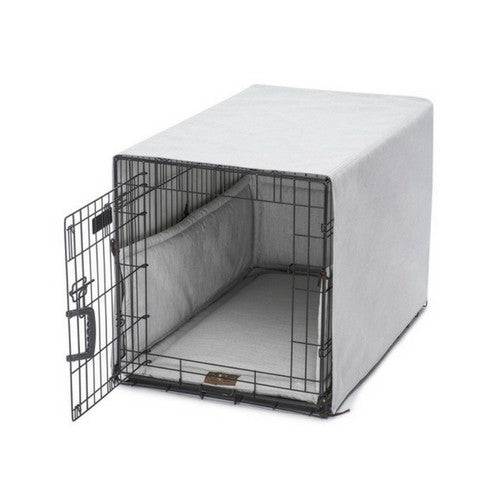 Jax & Bones Windsor Linen Luxury Dog Crate Cover Up Set — Dove on Crate