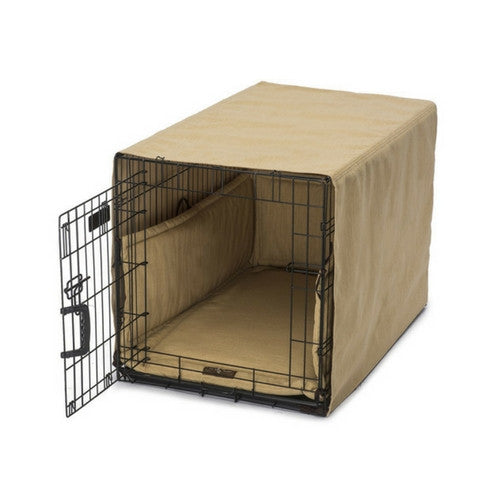Jax & Bones Windsor Linen Luxury Dog Crate Cover Up Set — Gold on Crate