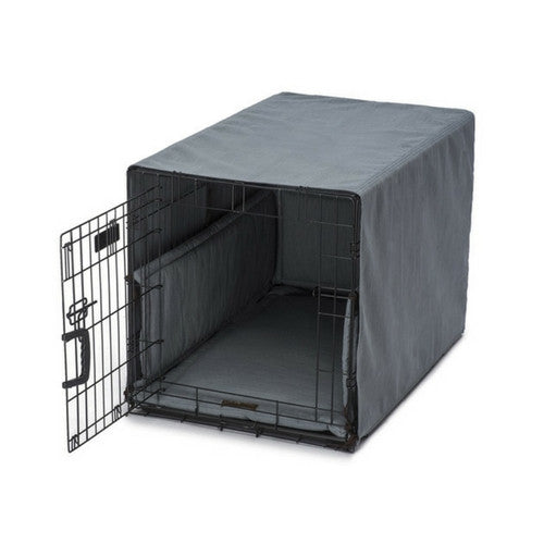 Jax & Bones Windsor Linen Luxury Dog Crate Cover Up Set — Lagoon on Crate