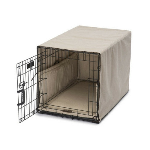 Jax & Bones Windsor Linen Luxury Dog Crate Cover Up Set — Linen on Crate