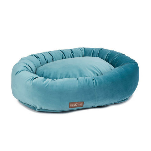 ax & Bones Plush Velour Donut Nesting Dog Bed — Jewel
