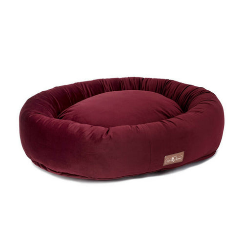Jax & Bones Plush Velour Donut Nesting Dog Bed — Maroon