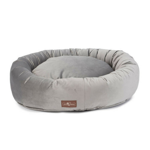Jax & Bones Plush Velour Donut Nesting Dog Bed — Seal Grey