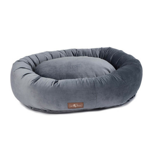 Jax & Bones Plush Velour Donut Nesting Dog Bed — Titanium