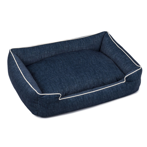Lounge Dog Bed — Denim Printed Velour
