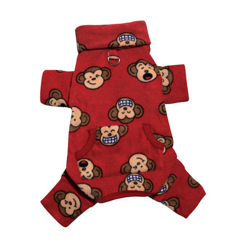 KLIPPO Silly Monkey Turtleneck Pajamas — Red