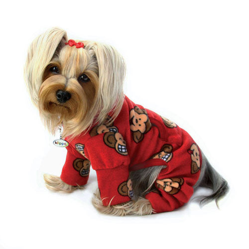 KLIPPO Silly Monkey Turtleneck Pajamas — Red on Dog