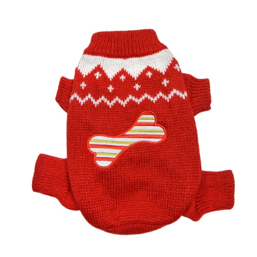 Klippo Pet Candy Cane Bone Four-legged Dog Holiday Sweater Back View