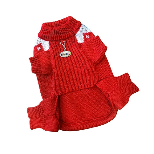 Klippo Pet Candy Cane Bone Four-legged Dog Holiday Sweater Front View