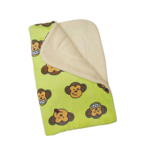 Klippo Pet Silly Monkey Fleece Dog Blanket Lime Green