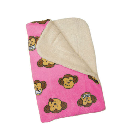 Klippo Pet Silly Monkey Fleece Dog Blanket Pink