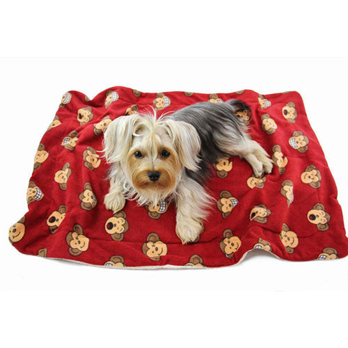 Klippo Pet Silly Monkey Fleece Dog Blanket Red with Dog
